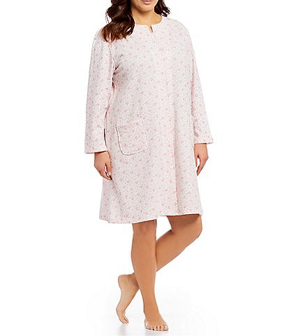 Miss Elaine Plus French Terry Floral Print Grip-Front Short Robe