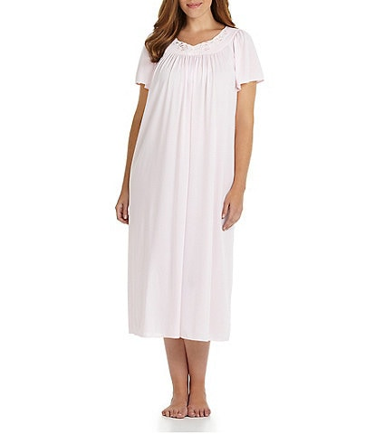 Miss Elaine Plus Short-Sleeve Long Gown