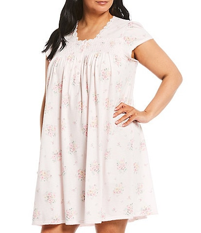 Miss Elaine Plus Silky Knit Floral Print Short Nightgown