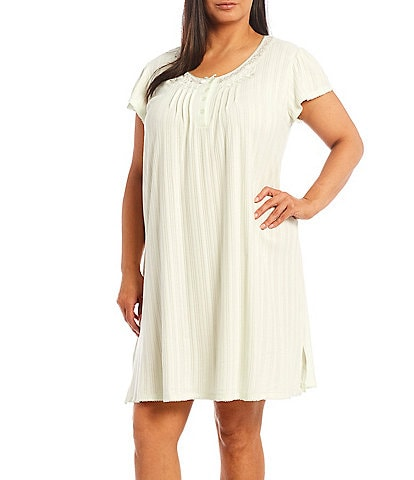 Miss Elaine Plus Size Solid Silky Knit Short Sleeve Nightgown