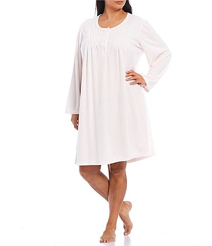 Miss Elaine Plus Solid Honeycomb Short Nightgown