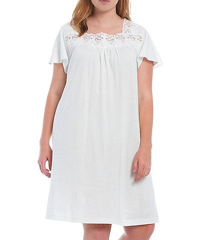 Miss Elaine Plus Solid Pointelle Knit Nightgown