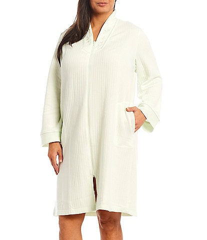 Miss Elaine Plus Solid Quilt-In-Knit Zip-Front Short Robe