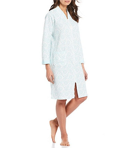 Miss Elaine Quilted-In-Knit Medallion Print Zip-Front Short Robe