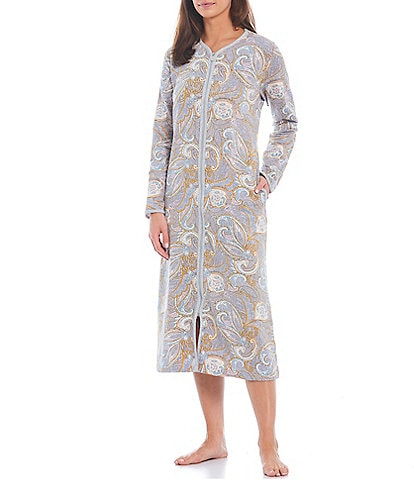 Miss Elaine Robe Paisley Print French Terry Zip-Front Long Sleeve Round Neck Long Robe