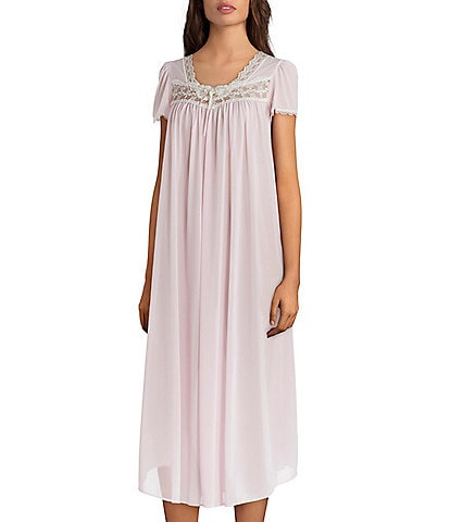 Miss Elaine Silk Essence Solid Long Nightgown