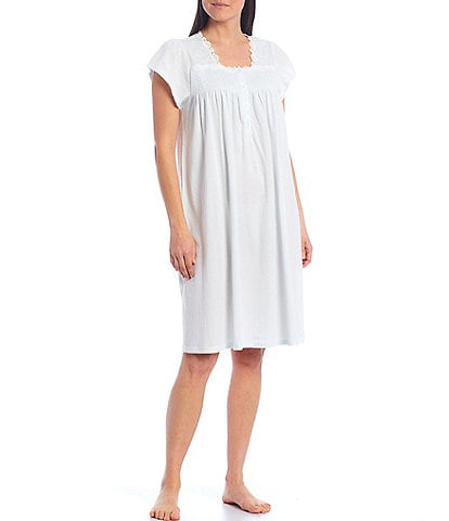 Miss Elaine Silky Knit Henley Smocked Nightgown