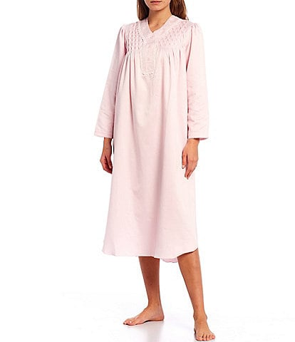 Miss Elaine Solid Brushed Back Satin Smocked Yoke V-Neck Long Sleeve Mid-Calf Nightgown