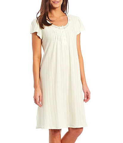 Miss Elaine Solid Silky Knit Round Neck Short Sleeve Nightgown