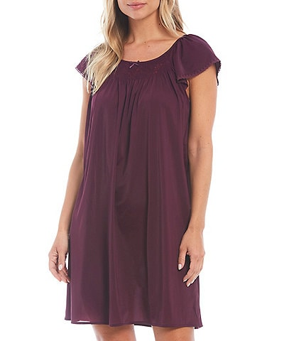 Miss Elaine Embroidered Flutter-Sleeve Short Nightgown