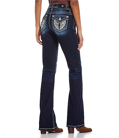 Miss Me Angel Wing Flap Pocket Bootcut Jeans