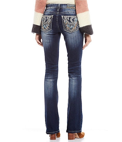 Miss Me Embellished Crescent Moon Dream Catcher Bootcut Jeans