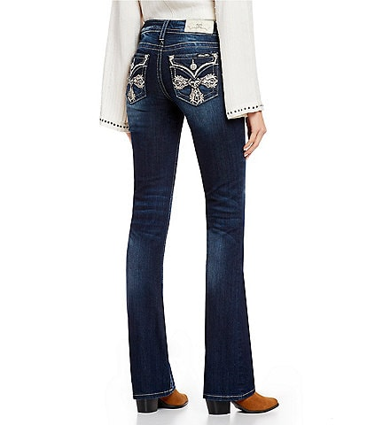 Miss Me Embellished Cross Flap Pocket Bootcut Jeans