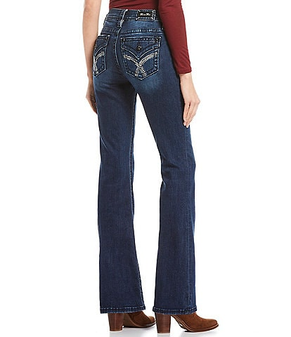 Miss Me Embellished Stitch Flap Pocket Mid Rise Flare Jeans