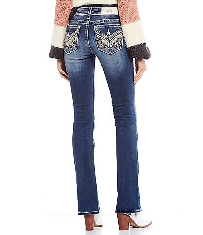 Miss Me Embellished Wing Flap Pocket Bootcut Jeans