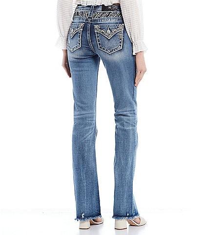 Miss Me Embellished Yoke Flap Pocket Bootcut Jeans
