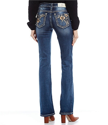 Miss Me Embroidered Floral Pocket Bootcut Jeans