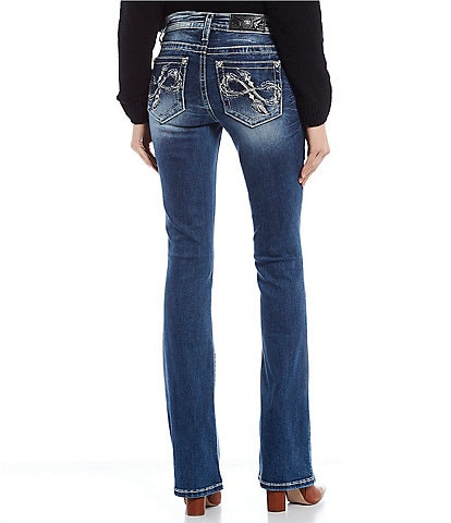 Miss Me Embroidered Infinity Feather Pocket Bootcut Jeans