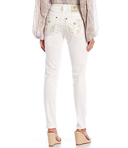 Miss Me Floral Embellished Pocket Skinny Jeans