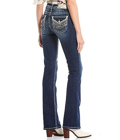 Miss Me Geometric Abract Embellished Pocket Bootcut Jeans