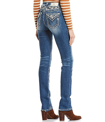 Miss Me Heart Beater Plaid Studded Pocket Mid Rise Straight Jeans