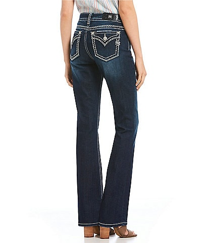 Miss Me Heavy Stitch Flap Pocket Curvy Fit Bootcut Jeans
