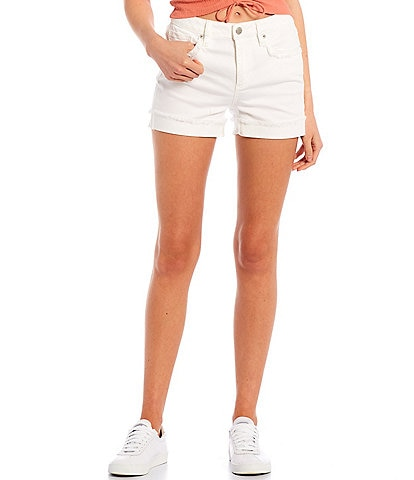 Miss Me High Rise Frayed Rolled Cuff Shorts