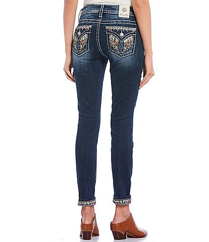 Miss Me Jeweled Wing Embellished Flap Pocket Ankle Skinny Jeans