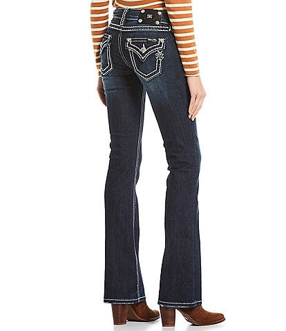 Miss Me Loose Saddle Border Stitch Flap Pocket Mid Rise Bootcut Jeans