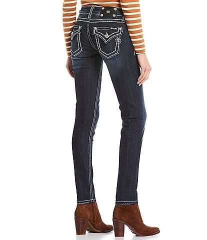 Miss Me Loose Saddle Border Stitch Flap Pocket Mid Rise Skinny Jeans