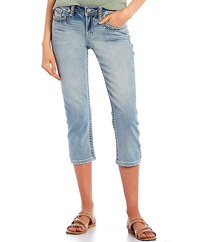 Miss Me Mid-Rise Border Stitch Pocket Capri Jeans