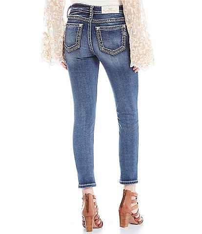 Miss Me Mid Rise Border Stitch Pocket Skinny Jeans