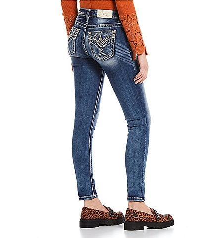 Miss Me Mid Rise Embroidered Flap Pocket Skinny Jeans