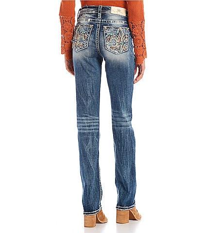 Miss Me Mid-Rise Feathery Fleur De Lis Embellished Pocket Straight Jeans