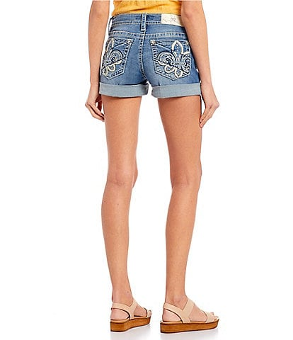 Miss Me Mid-Rise Fleur-De-Lis Pocket Rolled Cuff Shorts