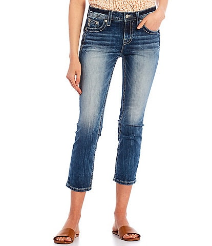 Miss Me Mid-Rise Flower Embroidered Capri Jeans