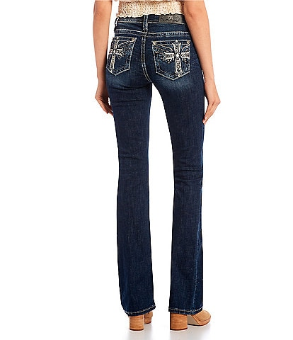 Miss Me Mid-Rise Wing In Cross Bootcut Jeans
