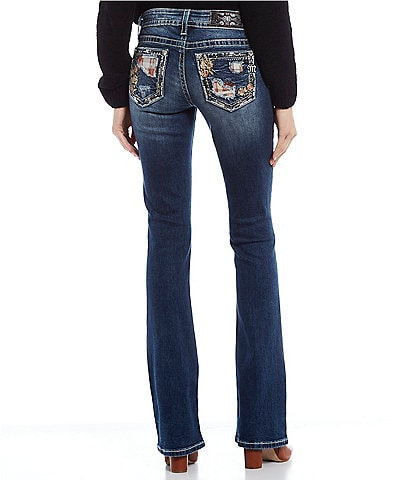 Miss Me Patchwork Floral Embroidered Stitch Pocket Bootcut Jeans
