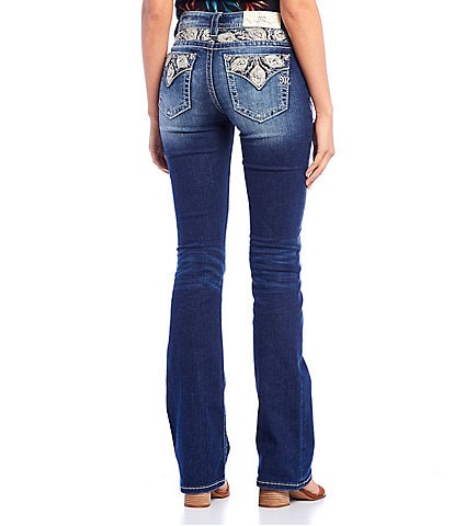 Miss Me Peacock Feather Embellished Pocket Bootcut Jeans