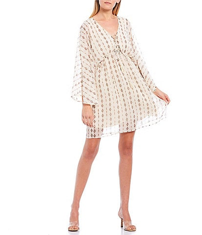 Miss Me Printed Kimono Sleeve Dress