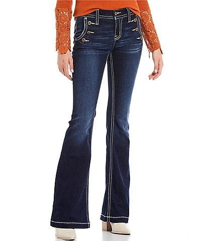 Miss Me Sailor Exposed Button Front Bootcut Jeans