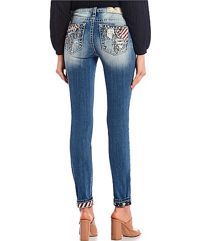 Miss Me Star Stripe Feather Mid Rise Skinny Jeans