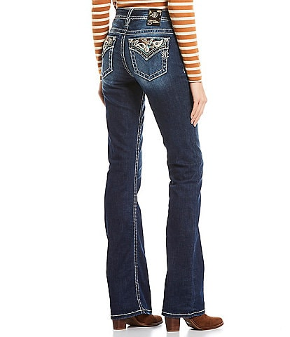 Miss Me Sweet Addition Paisley Embellished Flap Pocket Mid Rise Bootcut Jeans