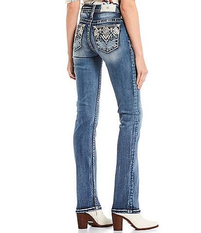 Miss Me Tribal Embellished Pocket Straight Jeans