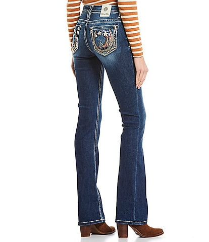 Miss Me Under The Stars Cactus Embroidered Pocket Mid Rise Bootcut Jeans