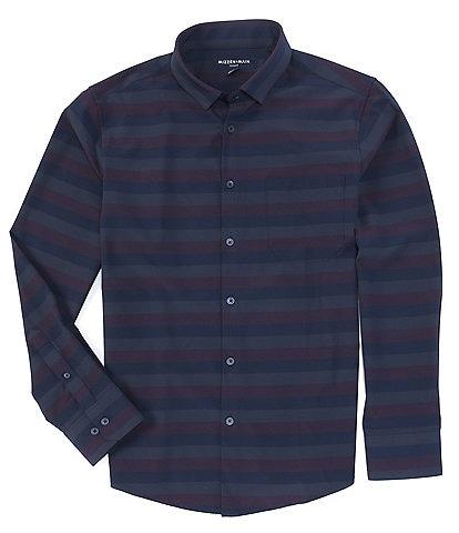 Mizzen+Main Leeward No-Tuck Horizonal Stripe Performance Stretch Long-Sleeve Woven Shirt