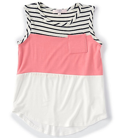 Moa Moa Big Girls 7-16 Colorblock/Striped Tank Top