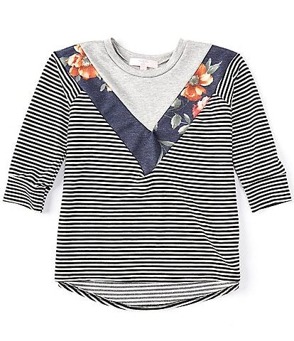 Moa Moa Big Girls 7-16 Floral Striped Colorblock Top