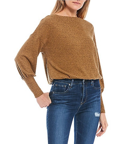 Moa Moa Boat Neck Long Sleeve Ribbed Hacci Pullover