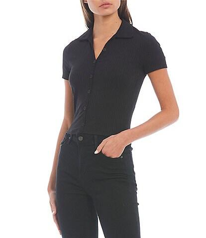 Moa Moa Button Front Short Sleeve Polo Tee